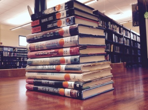 The stack of Crutcher's books featured in the NHS Media Center. (PHOTO, Bode)