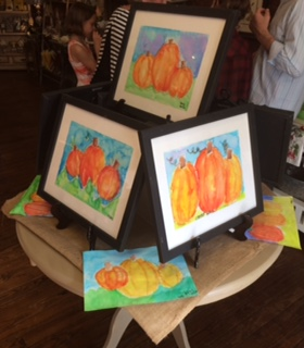 Fourth Grade Elm Street Elementary art class's paintings of pumpkins by Mrs. Neely's class. (PHOTO, Wagner)