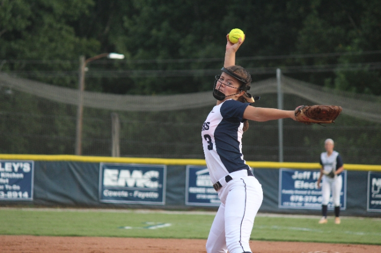 Addie Andrews winds up for a pitch on the mound. (PHOTO courtesy of Andrews)